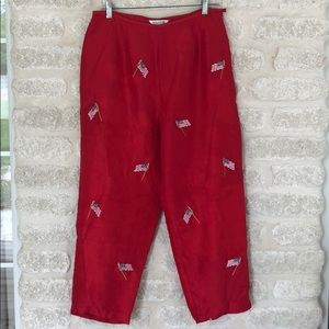 American flag pants! Red silk embroidered flags 12